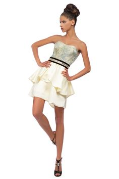 Robe bustier à basque brocart de soie et satin duchesse #RobeDeCocktail