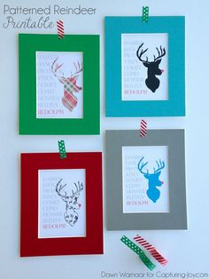 Free Patterned Reindeer Printables in Four Fun Design Options! Available for Download in Two Sizes (8x10 and 16x20).