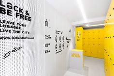 Completed in 2016 in Madrid, Spain. Images by CaulinPhoto . Lock & Be Free, the first Spanish urban locker net, already opened its first shop, very close to the touristic street Gran Via in Madrid. Madrid, Tiny House, Interactive Walls, Journal Du Design, Retail Store Design, Interior Design Magazine, Branding, Display Design, Booth Design