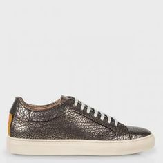 Paul Smith Men's Grained Pewter Calf Leather 'Nastro' Trainers