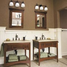Handsome custom mahogany-stained, open-shelf his-and-hers vanity bases. |Photo: Wendell T. Webber | thisoldhouse.com