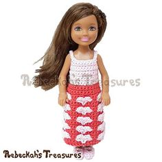 Sweetheart Kisses Girl Fashion Doll Dress | via I Heart Clothes - A LOVE Round Up by @beckastreasures | #crochet #pattern #hearts #kisses #valentines #love
