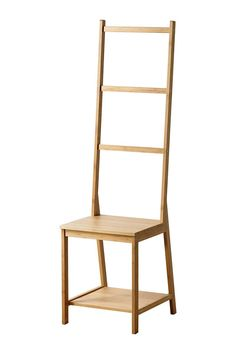 Ikea #refinery29 It's both a chair and a towel rack, plus there's a shelf underneath the seat where you can store a stack of towels....