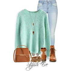 A fashion look from November 2014 featuring Chicwish sweaters, ONLY jeans and Steve Madden ankle booties. Browse and shop related looks.