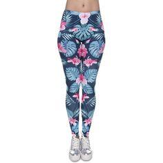 New Women Leggings Tropical Pink Flora 3D Print Slim Jeggings Sexy Leggins Tayt Fitness Legging Calzas Mujer Soft Legins Girls