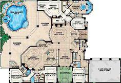 Mediterranean Style House Plan - 4 Beds 4.5 Baths 5841 Sq/Ft Plan #27-273