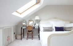 loft bedroom with Velux window Mezzanine Bedroom, Attic Loft, Loft Room, Bedroom Loft, Loft Conversion Victorian Terrace, Loft Conversion Bedroom, Attic Conversion, Victorian Townhouse, Loft Storage