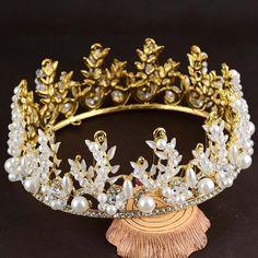 Bridal Gold tone rhinestone white crown tiara Diadem HR538 #Crown