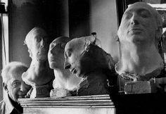 André Kertész, Self Portrait with Life Masks. 1976