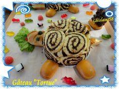 """Gâteau """"tortue"""" : biscuit roulé coupé en tranches et mousse au chocolat au centre"""