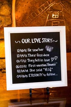 """""""Our Love Story"""" - chalkboard sign idea {Brett Charles Rose Photography}"""