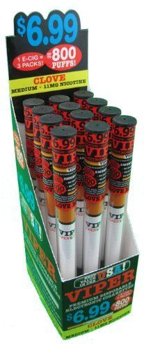 12 Pack of Viper Disposable E-hookah with Soft-tip. Longest Lasting Electronic Hookah Pen / Stick Available. (Clove Hookah) by Viper E-Hookah, http://www.viperecig.com/disposable-electronic-hookah-flavors/soft-tip-disposable-800-puff-electronic-hookah-12-packs/clove-medium-nicotine-12-count.html