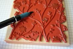 Thumping. Adding colour to an already inked stamp with a marker.