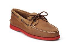 Two-eye leather boat shoe