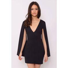 6e8e445146 Rare London Black Cape Sleeve Mini Dress ( 29) ❤ liked on Polyvore  featuring dresses