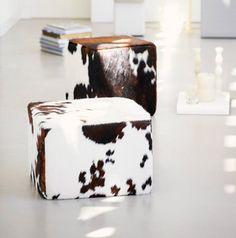 cowhide poufs