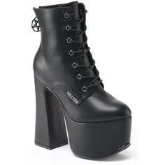 Hell-O Platform Bootie [B] KILLSTAR ❤ liked on Polyvore featuring shoes, boots, ankle booties, faux leather ankle boots, zipper ankle boots, faux leather platform booties, platform boots and platform booties