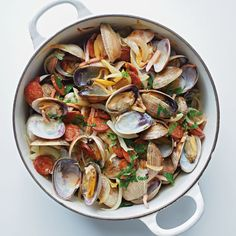 Chuck Williams recipe for Clams Algarve, inspired by his trips to Portugal.