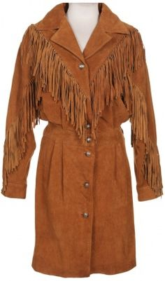 Fringed Suede Western Style Coat Tan