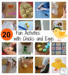 Fun activities with chick and eggs shared in food creations, math games, reading fun, science experiments and crafts are all shared in this post. Easter Activities For Kids, Printable Activities For Kids, Spring Crafts For Kids, Holiday Crafts For Kids, Preschool Learning Activities, Spring Activities, Fun Activities, Holiday Activities, Preschool Ideas