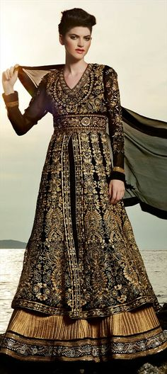 412431: BRIDAL WEAR: Double Skirt Anarkali with Gold Embroidery.   #anarkali #embroidery #gold /3bridalwear