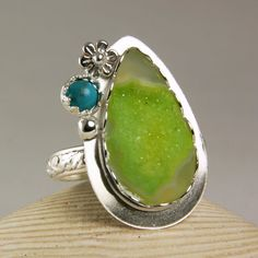 Sterling Silver Druzy Ring Turquoise Stone by TazziesCustomJewelry