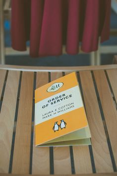 Book themed wedding. Penguin order of service.