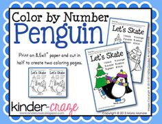 Color by Number Penguin - FREEBIE
