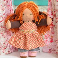 """This is Aida, a 15"""" Bamboletta doll.  She has sunkissed skin, long hair made with mohair and wool yarns in a ginger color with ginger dreadlocks and green eyes and freckles.  She is wearing the pictured outfit, underpants and wool felt shoes."""