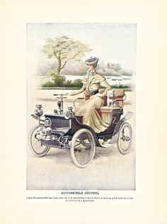 """Automobile Driving,"" one of 8 color illustrations from Twentieth Century Etiquette (1900).  Available at uncannyartist.com/products/illustrations-etiquette"