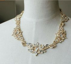 Inviting Gold Alloy And Artificial Crystals Necklace - Necklaces