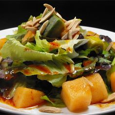 """Avocado and Cantaloupe Salad with Creamy French DressingI """"My Husband & I Inhaled it! Never thought of this combination, Delicious!!"""""""