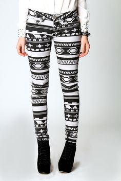 Hope Winter Washed Aztec Print Skinny Jeans    I WANT TRIBAL PANTS!!!