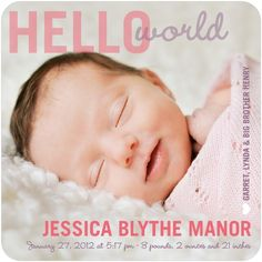 It's Me: Girl Photo Birth Announcements in Medium Pink | Hello Little One