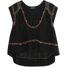 Isabel Marant Curtis cropped embroidered silk-bourette top (10 190 UAH) ❤ liked on Polyvore featuring tops, crop top, tank tops, black, loose fitting tops, cut-out crop tops, loose fit tops, loose fit crop top and embroidery top