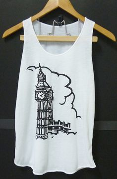 Big Ben Clock tower art White Tank top, women teen girls clothing size XS,S singlet top,sleeveless tshirt blouse by Cute classic shop on Etsy, $9.99