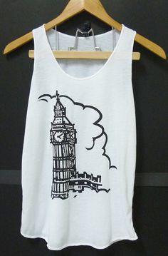 Big Ben Clock tower art White Tank top, women teen girls clothing size XS,S singlet top,sleeveless tshirt blouse by Cute classic shop on Etsy, $9.99