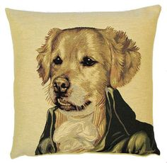 "This tapestry cushion is part of a line of twelve cushions showing dressed up dogs by the belgian artist Thierry Poncelet. It is woven on a jacquard loom. Tapestry design is a craft that only a few master. The designer starts from a high resolution image, which he scans and then comepletely reworks it until it is ready for weaving. Averagely, the ""cleaning up"" of an image takes between 12 and 16 hours. Respect !    The cushion is woven with 100% cotton thread. It is lined with a plain beige…"