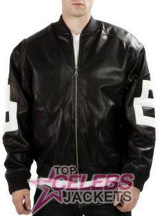 Men's Bomber 8 Ball Black Leather Jacket  (1)