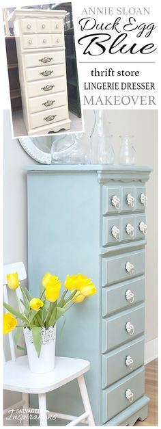 Before & After Lingerie Dresser restyled with Annie Sloan Duck Egg Blue | Salvaged Inspirations