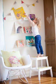 step stool + acrylic book shelves