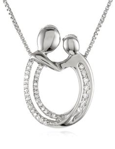 """XPY Sterling Silver Diamond Oval Mother and Child Pendant Necklace ( .12 cttw, I-J Color, I3 Clarity), 18"""" Amazon Curated Collection"""