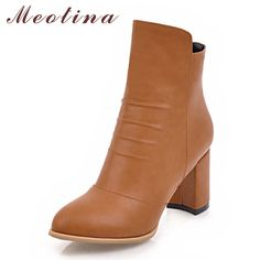 7d16010dd8ee Meotina Women Boots Thick Heels Women Ankle Boots High Heels Ladies Autumn  Shoes Large Size 33-43 Winter Boots Chaussure Femme  Affiliate