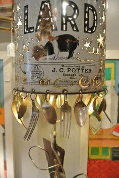 DIY handmade art lamp from New Orleans artist - repurposed junk!