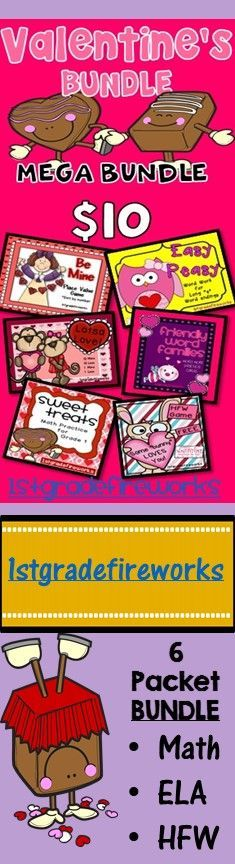 https://www.teacherspayteachers.com/Product/Valentines-LOVEBUNDLE-1680482 Packets include... Be Mine Place Value Game Easy Peasy Friendly Word Families Lotsa Love 10 more / 10 Less Some Bunny Loves You Sweet Treats Making Ten Strategy