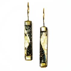 """Continuance Earrings, L: 2.00"""" W: 0.25"""", Saltwater Etched Oxidized Iron with Fused 20K Gold, 18K Gold Details and Earring Posts, Contemporary Jewelry by Deborah Vivas"""