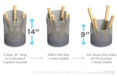 "HomeMade Modern DIY EP8 $5 Bucket Stool Revisited, use 4 legs and 9"" high bucket"