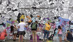 Neighbors colorize Fulton Market street art ahead of demolition Collaborative Mural, Chicago Athletic Association, Chicago Location, Fulton Market, Rain Shower, Vera Bradley Backpack, Color Splash, Street Art, Black And White