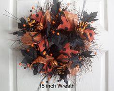 Small Halloween Wreath, Deco mesh Halloween Wreath, Pumpkins, Black and Orange…