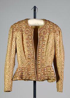 Evening jacket Attributed to Elsa Schiaparelli (Italian, 1890–1973)  Department Store: Henri Bendel (American, founded 1895) Date: ca. 1938 Culture: French Medium: Silk, linen, metallic, rhinestones, beads. Front 2